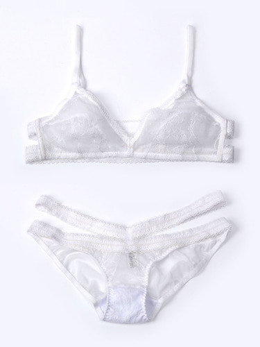 Lace Back Bralette Blanc Set