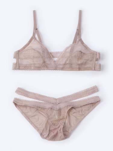Lace Back Bralette Beige Set